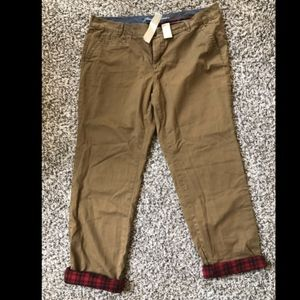 Eddie Bauer Khaki Boyfriend Pants with Flannel